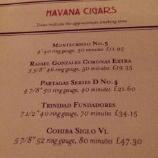 Cigar menu