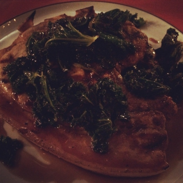 Pork with Curly kale and black pudding hash