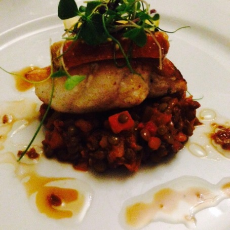 Monkfish with lentils